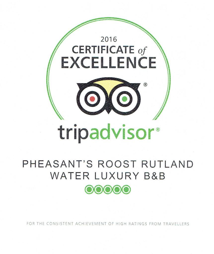 Pheasants Roost Certificate of Excellence 2016